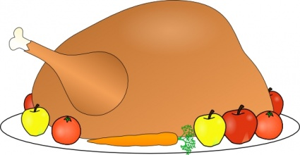 Turkey Platter 01 With Fruit And Vegitables clip art free vector.