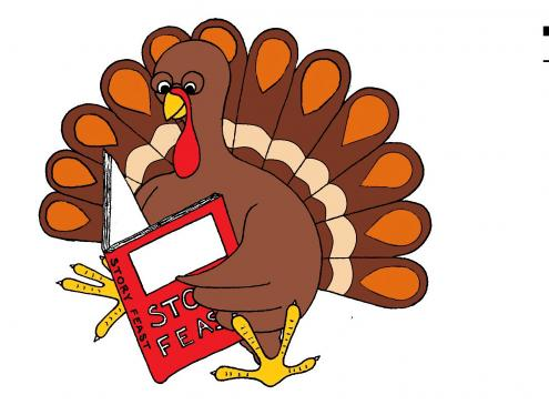 Turkey Reading A Book Clipart.