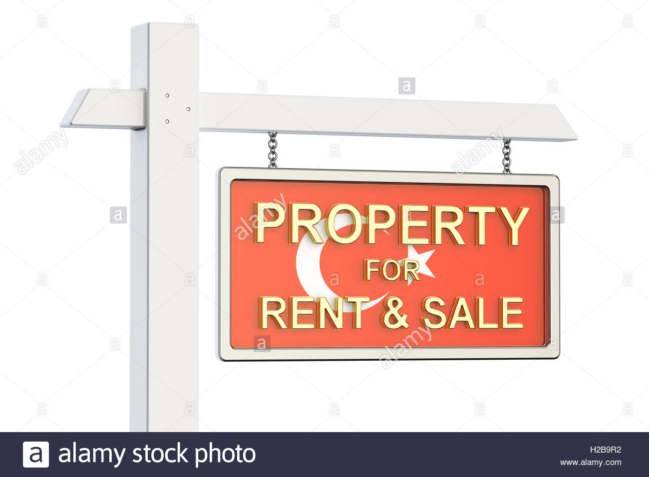 Property For Sale And Rent In Turkey Concept. Real Estate Sign, 3d.