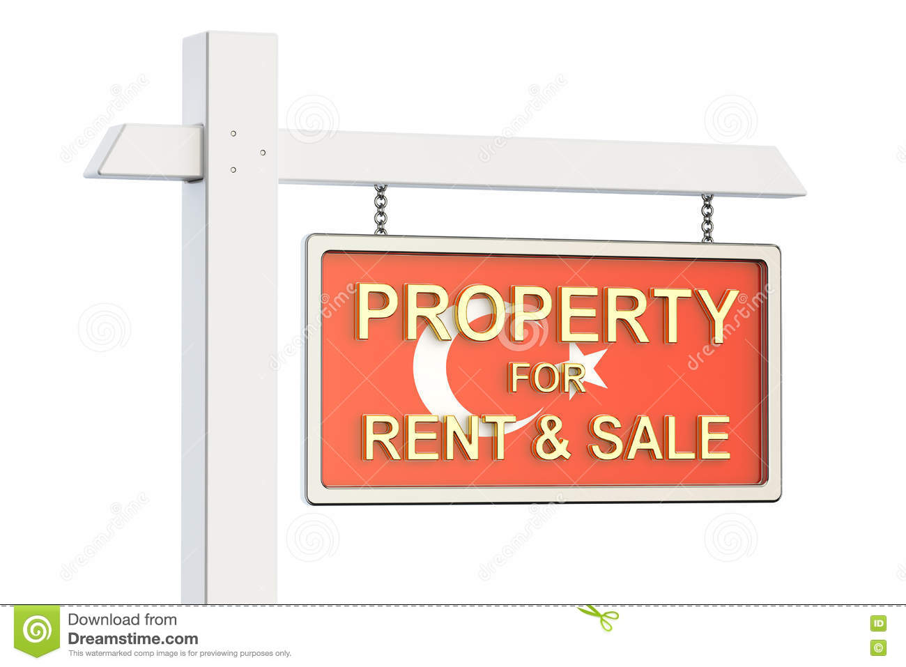 Property For Sale And Rent In Turkey Concept. Real Estate Sign.