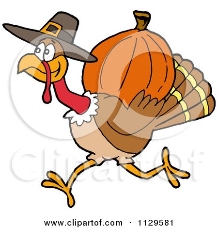 Clipart of a Cartoon Winking Sexy Pilgrim Woman Holding a Turkey.
