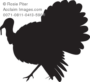 Royalty Free Clipart Illustration of a Turkey Silhouette.