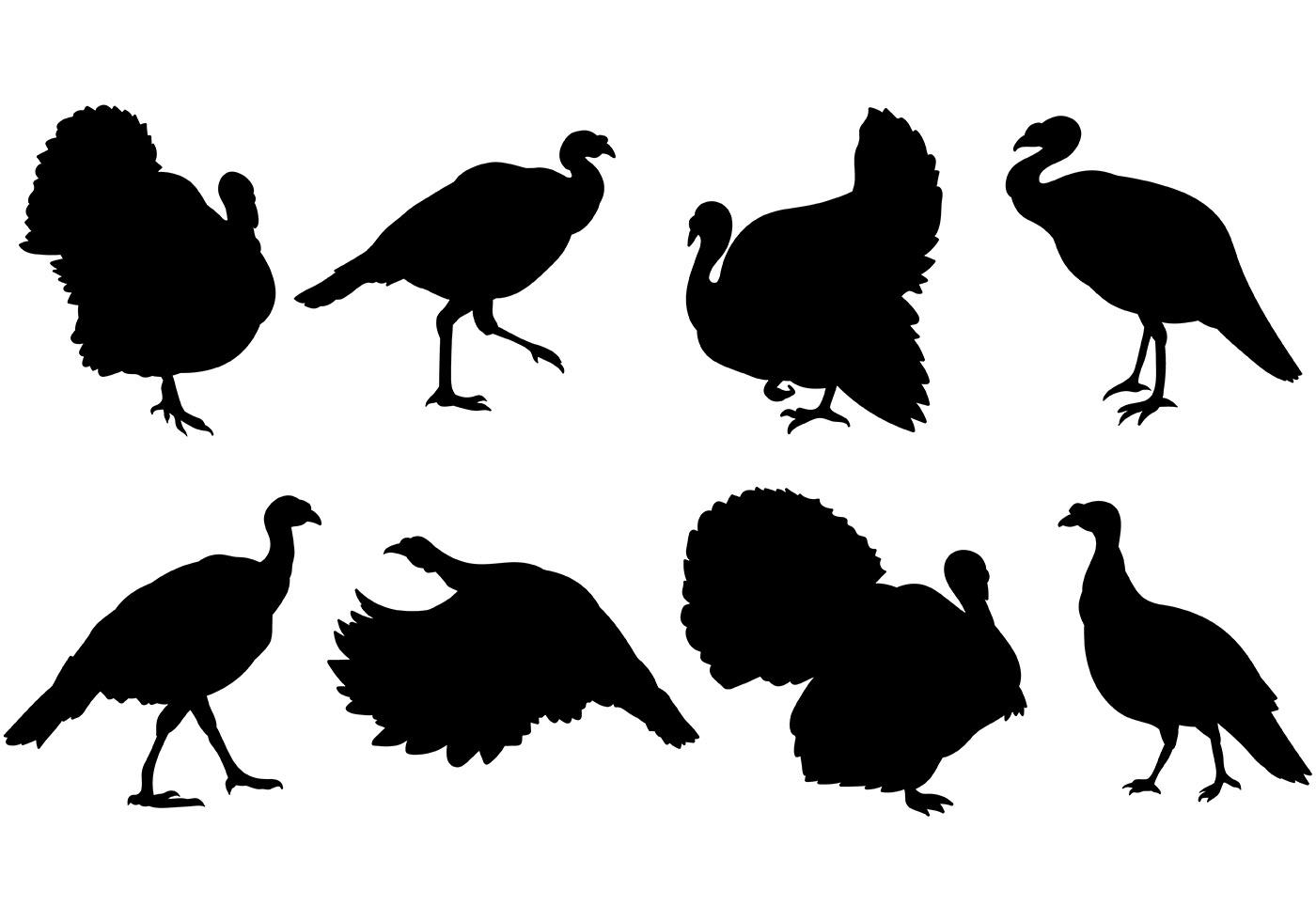 Best Free Wild Turkey Silhouette Clip Art Drawing ~ Vector.