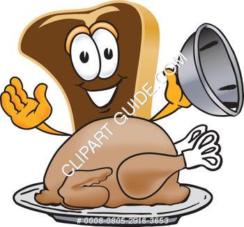 Cartoon Clipart Steak With Thanksgiving Turkey.