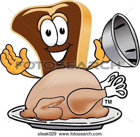 Stock Illustration of Steak With Thanksgiving Turkey steak029.