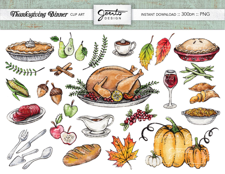 Thanksgiving Dinner Clip Art Set, Turkey, Pumpkins, Acorns.
