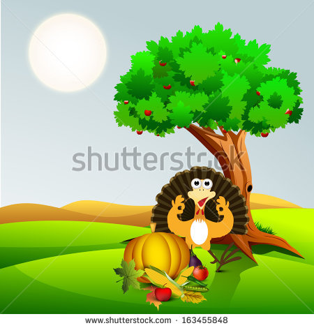Happy Thanksgiving Day Concept With Fruits, Vegetables And Turkey.