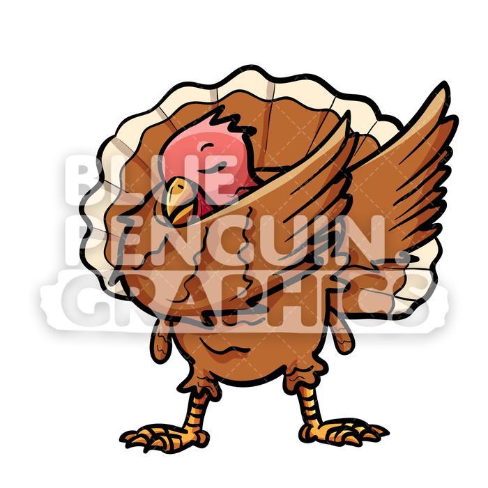 Dabbing Turkey Vector Cartoon Clipart Illustration.