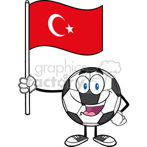 happy soccer ball cartoon mascot character holding a flag of turkey vector  illustration isolated on white background clipart. Royalty.