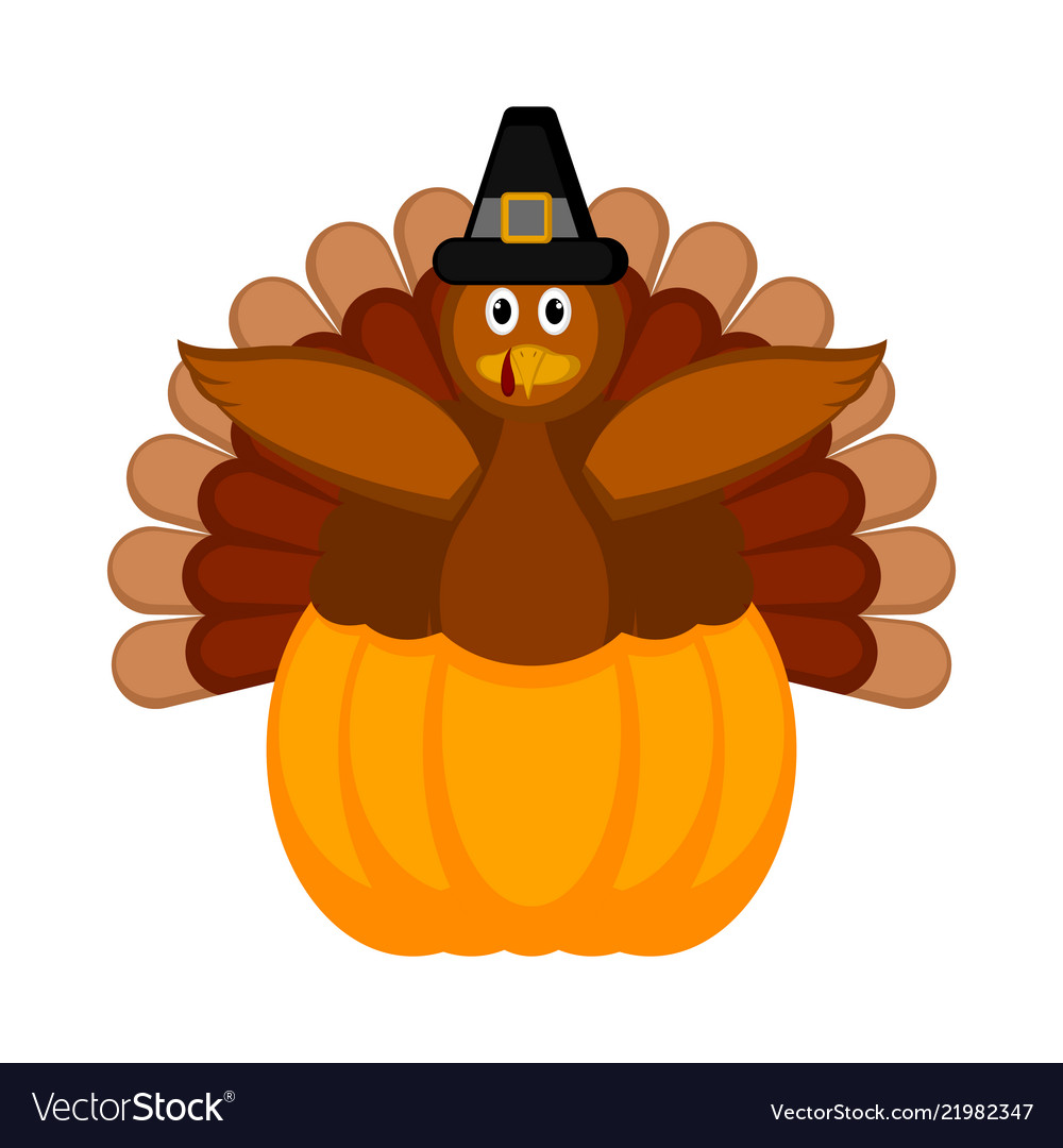 Turkey with pilgrim hat and a pumpkin icon.