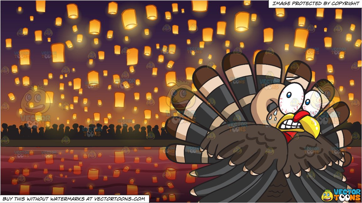 A Terrified Turkey and Flying Paper Lanterns At Diwali Festival Background.
