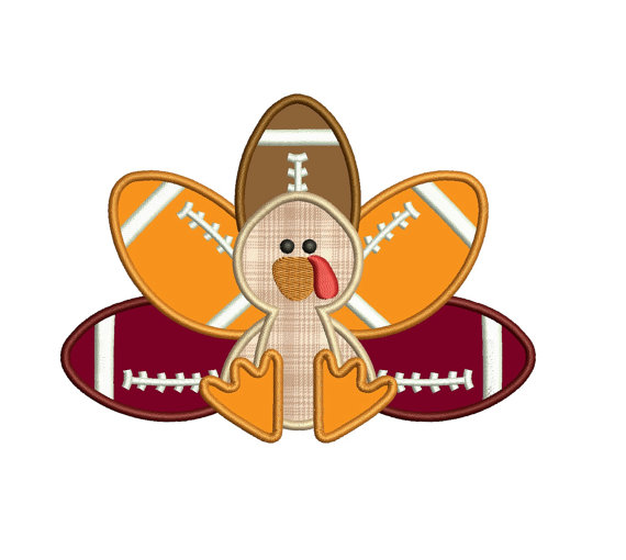 Football Turkey Thanksgiving Applique Machine Embroidery.