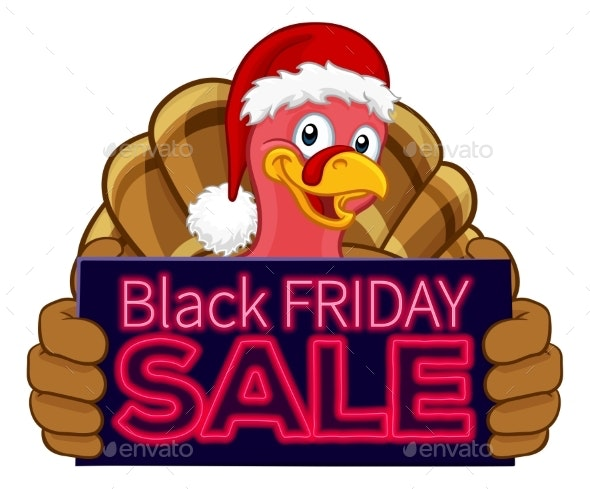 Black Friday Sale Turkey In Santa Hat Cartoon.