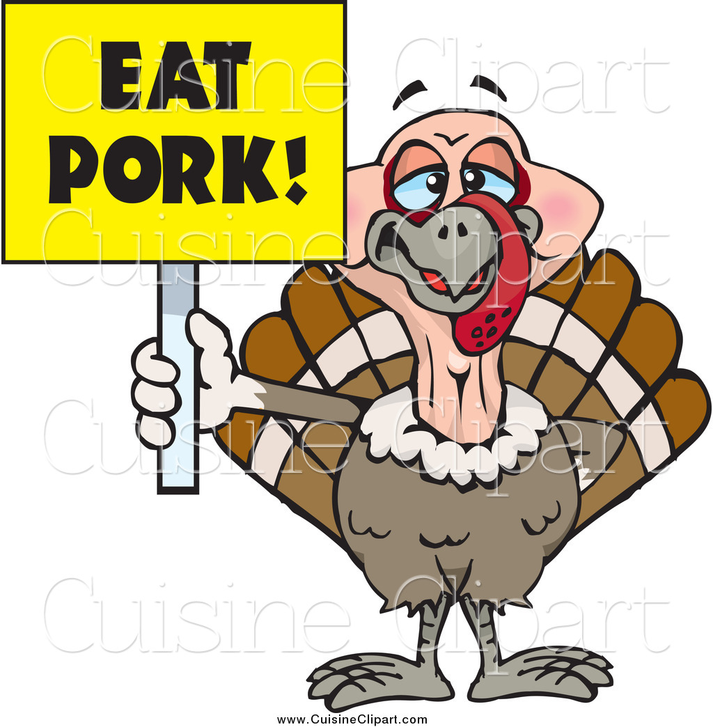 Cuisine Clipart of a Turkey Bird Holding a Yellow Eat Pork.