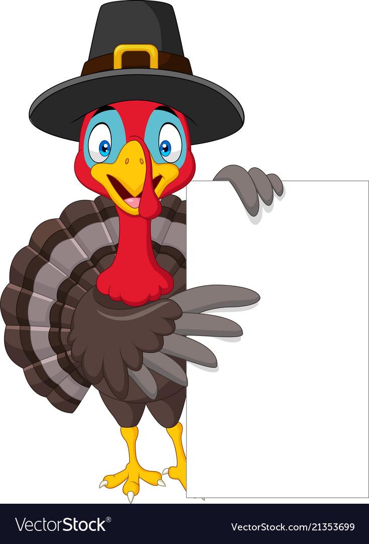 Cartoon turkey holding blank sign.