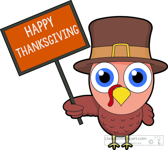 Turkey holding sign happy thanksgiving clipart » Clipart Portal.