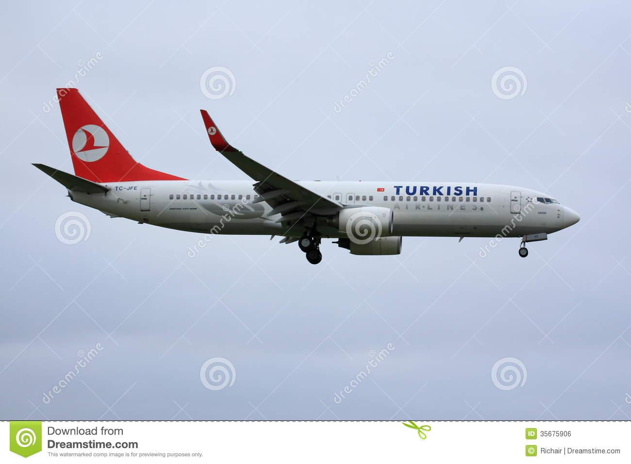 Turkish Airline Boeing 737 Editorial Photo.