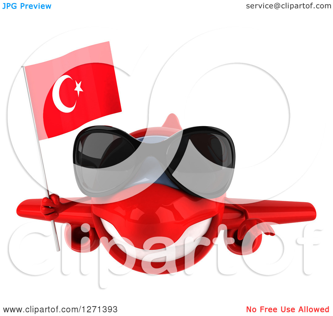 Clipart of a 3d Happy Red Airplane Wearing Sunglasses and Flying.