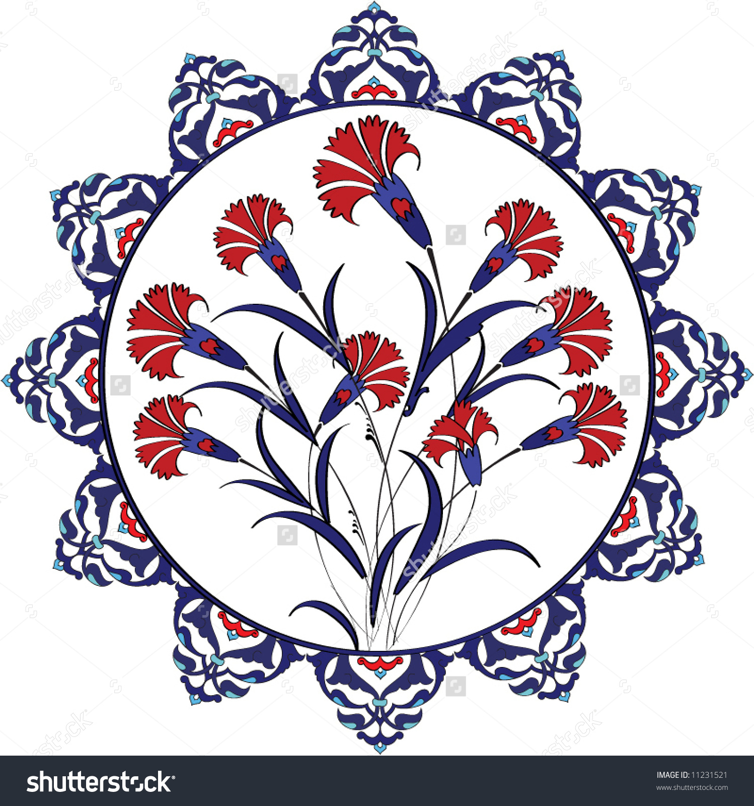 Traditional Vintage Ottoman Turkey Turkish Carnation Stock Vector.