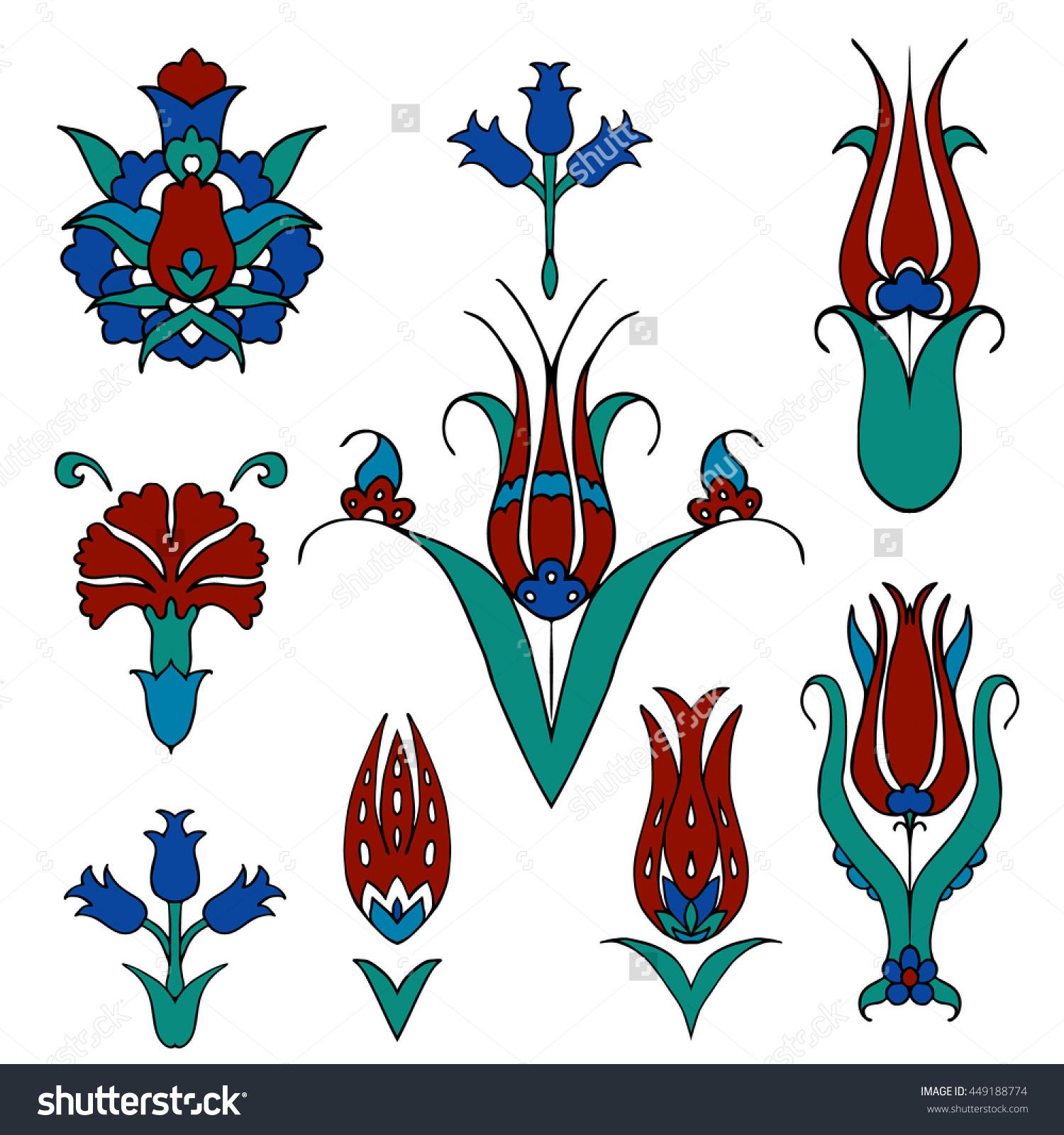 Set Islamic Floral Design Turkish Tulip Stock Vector 449188774.
