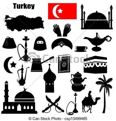 Vector of Turkey symbols.