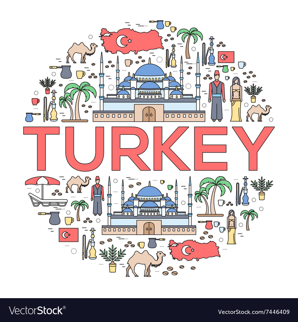 Country Turkey travel vacation guide of goods.