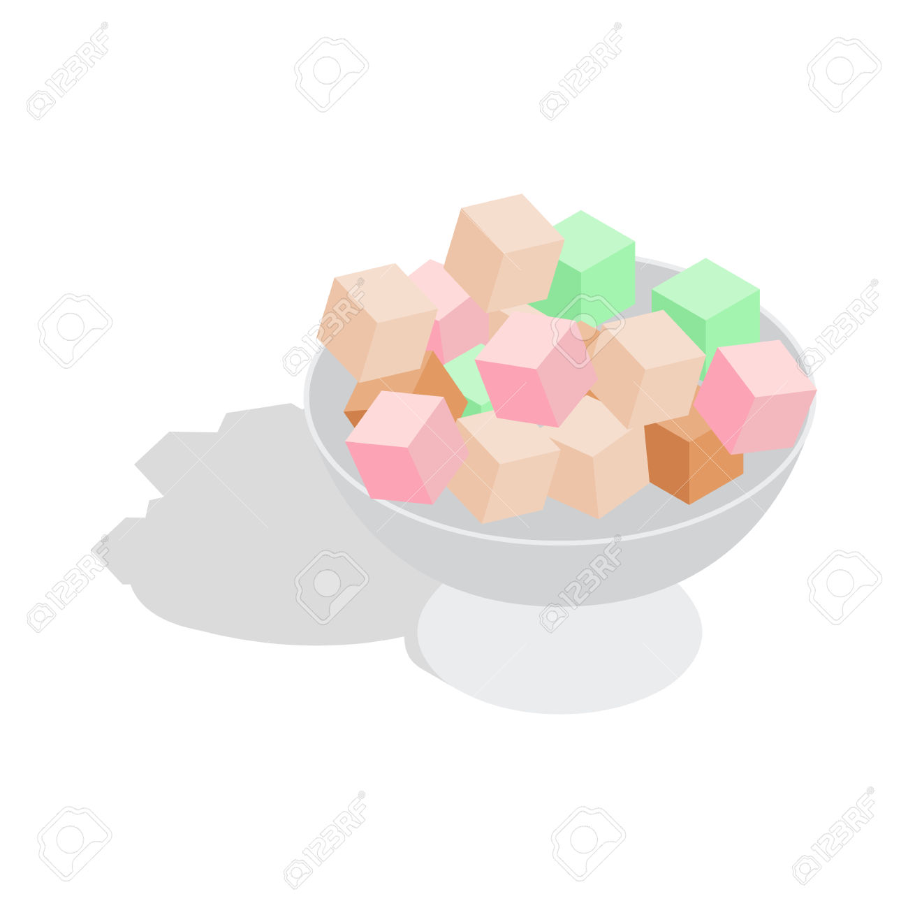 Turkish Delight Icon In Isometric 3d Style On A White Background.