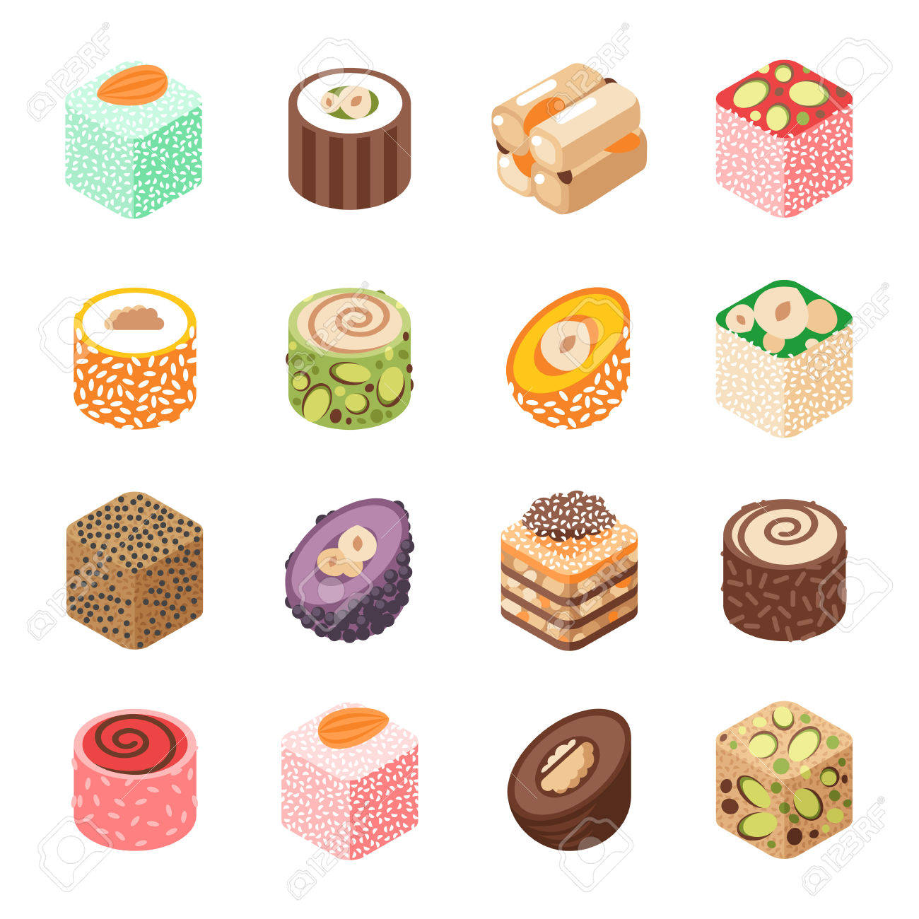 Eastern Sweets Vector. Turkish Baklava Sweet Made With Honey.