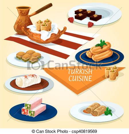 Clip Art Vector of Turkish cuisine delights and desserts icon.
