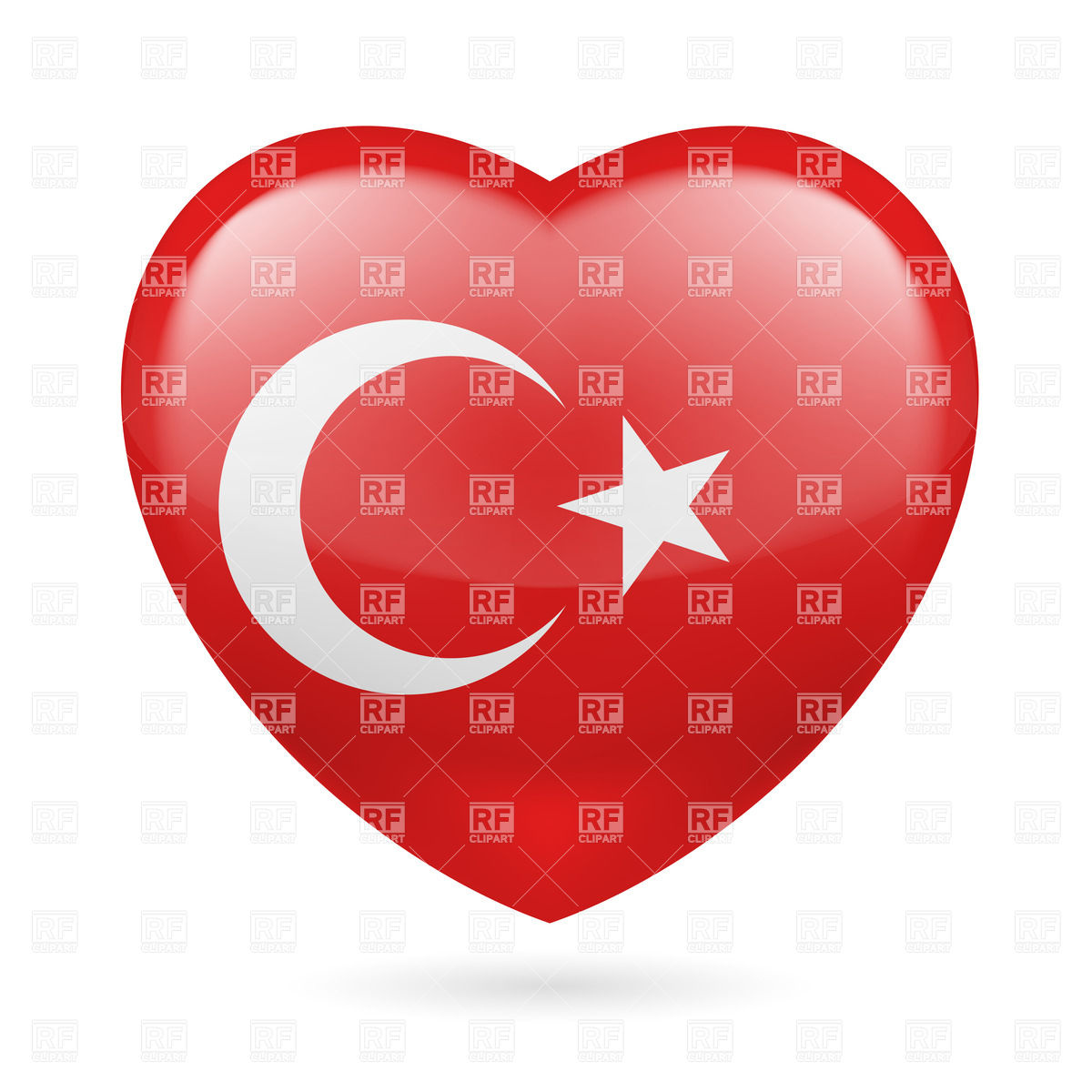 Heart with Turkish flag colors. I love Turkey Vector Image #31912.