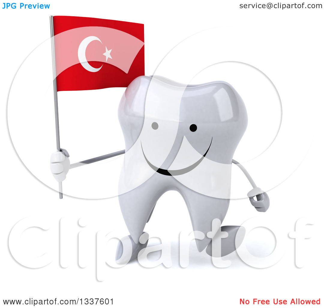 Clipart of a 3d Happy Tooth Character Holding a Turkish Flag and.