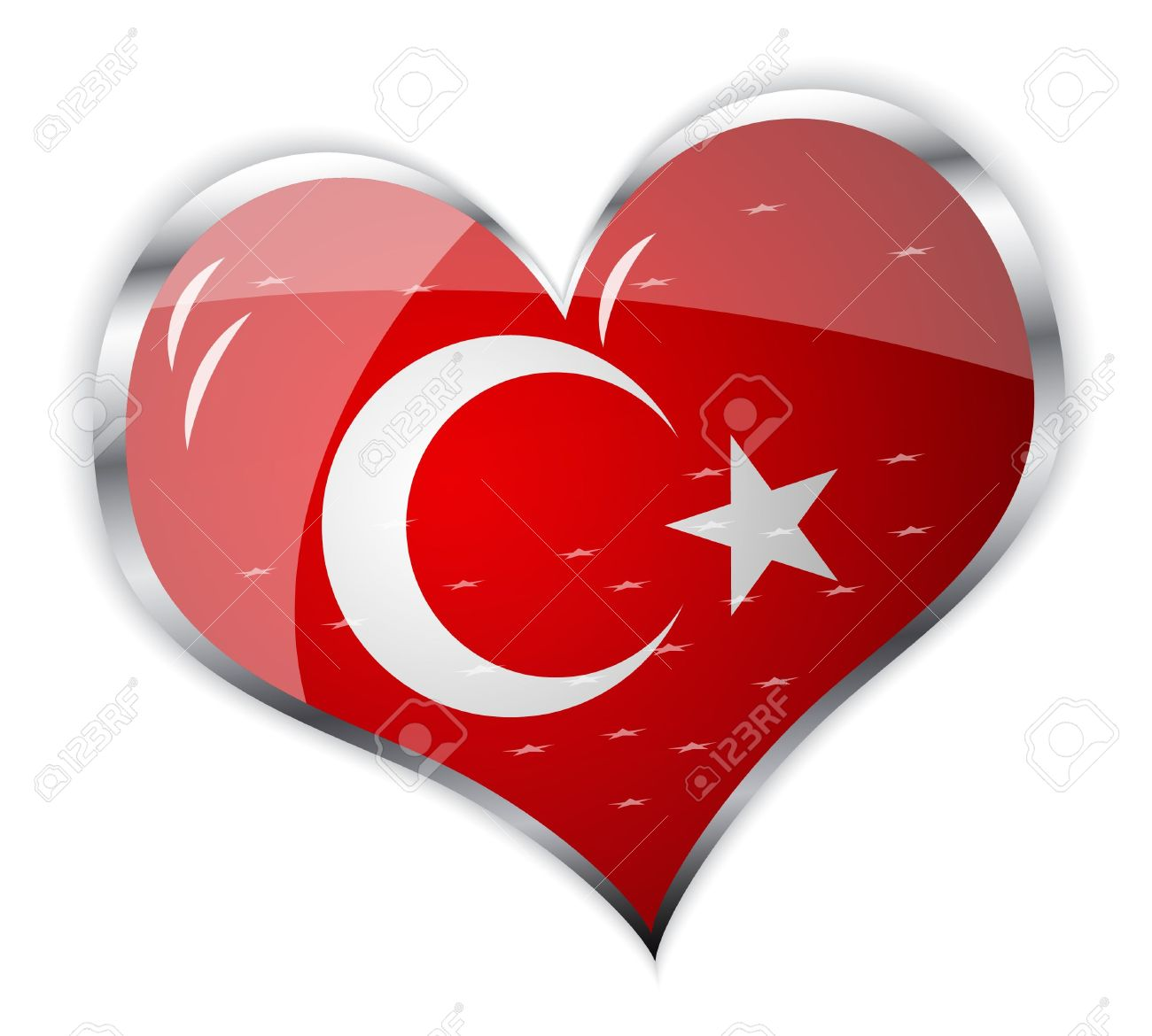 Vector Illustration Of Flag Of Turkey In Heart Shape Royalty Free.