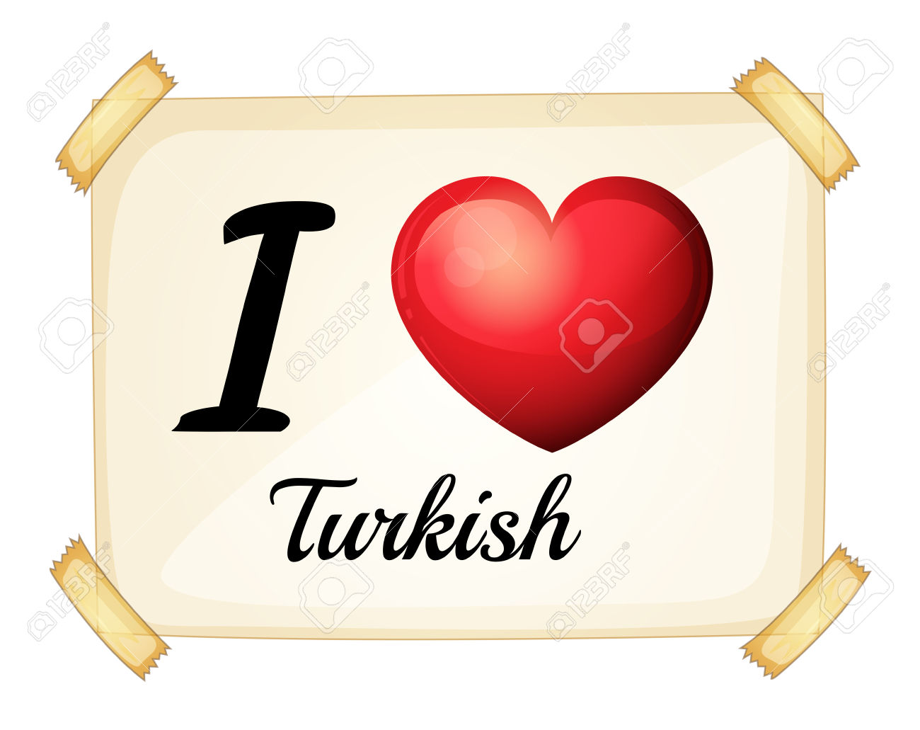 I Love Turkish Posted On The Wall Royalty Free Cliparts, Vectors.