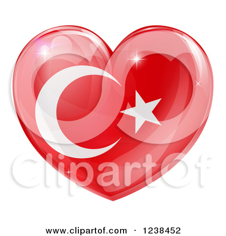 Clipart of a 3d Reflective Turkish Flag Heart.
