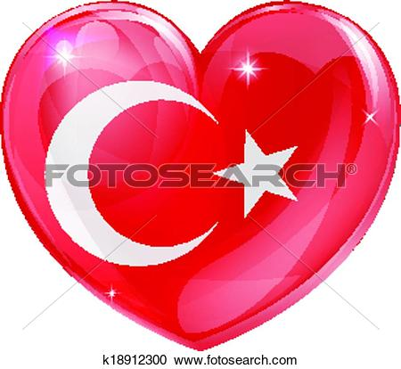 Clipart of Turkish flag love heart k18912300.
