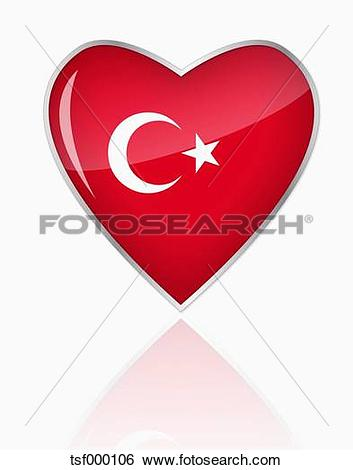 Clip Art of Turkish flag in heart shape on white background.