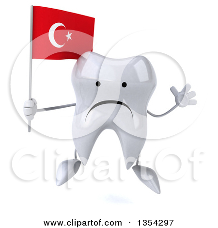 Clipart of a 3d Unhappy Tooth Character Holding a Turkish Flag and.