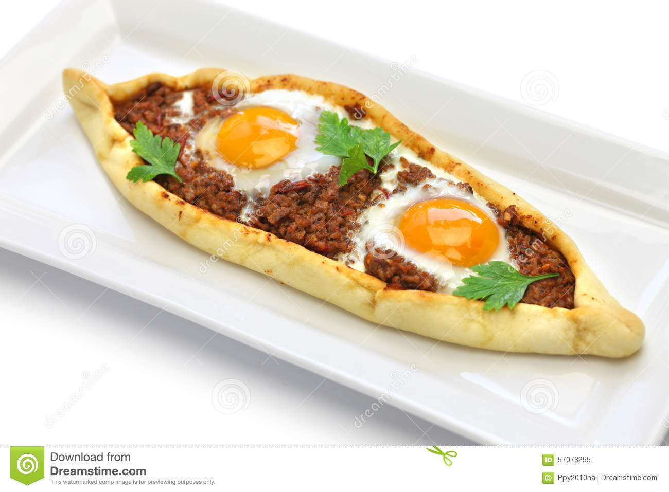 Mince Meat Pide, Turkish Pizza Stock Photo.