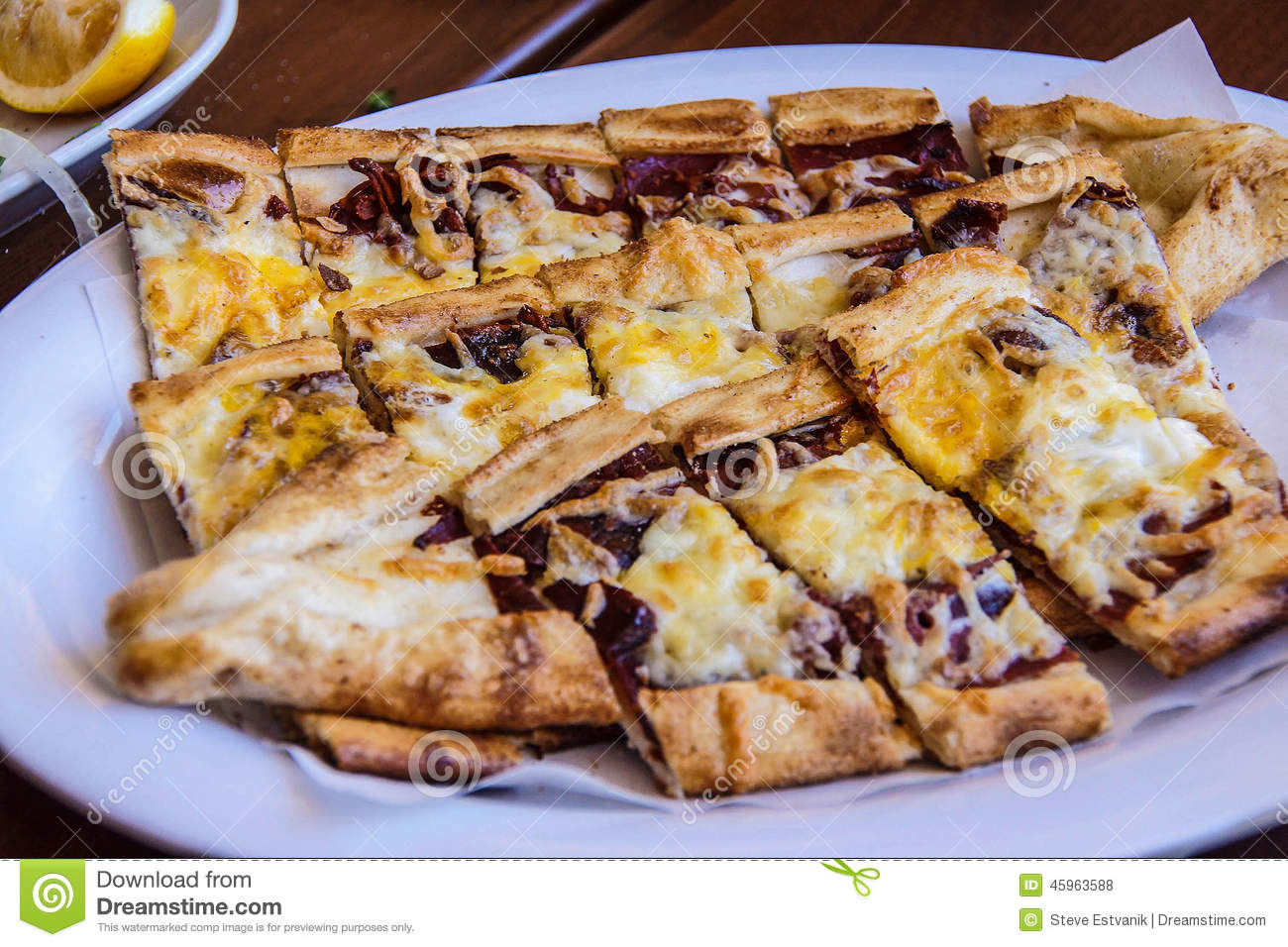 Traditional Pide Turkish Pizza, Stock Photo.