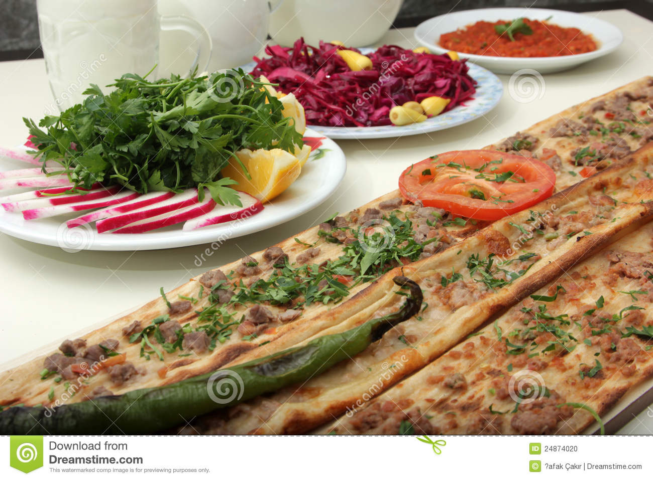 Turkish Pizza Stock Photo.