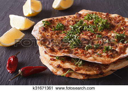 Stock Photography of Lahmacun.