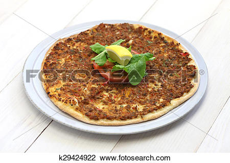 Stock Photo of lahmacun, turkish pizza k29424922.