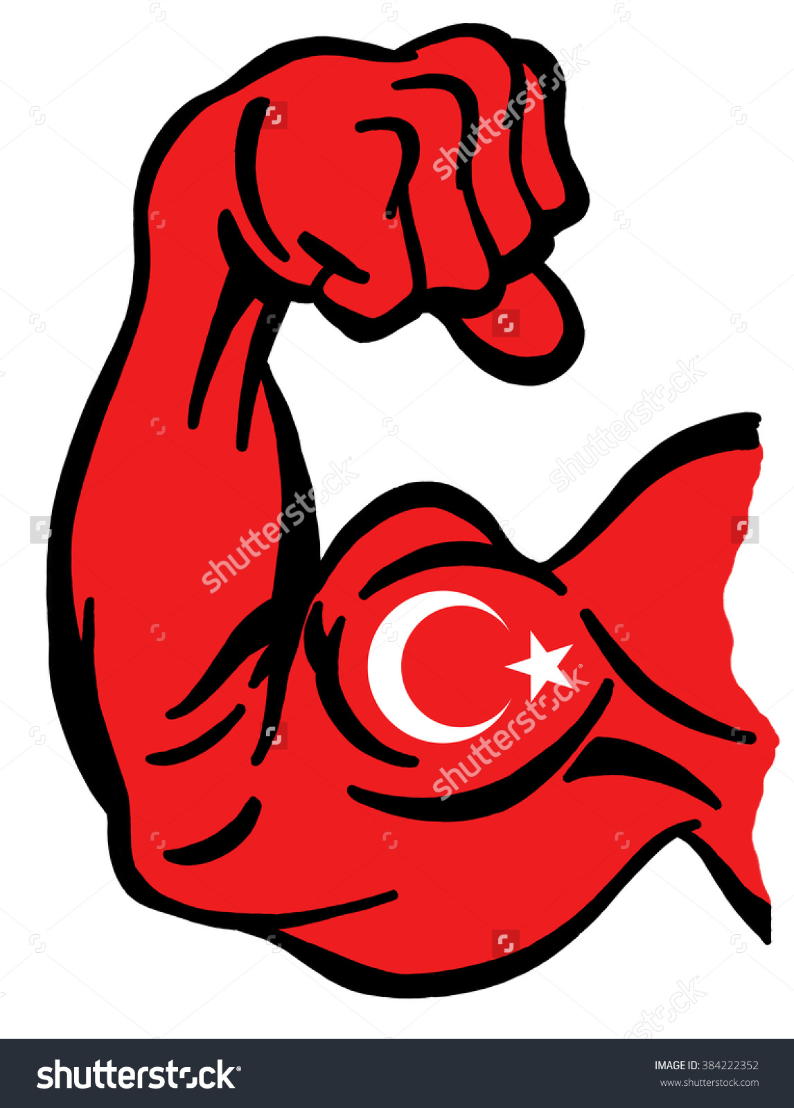 Biceps Painted Colors Turkish Flag Symbol Stock Illustration.