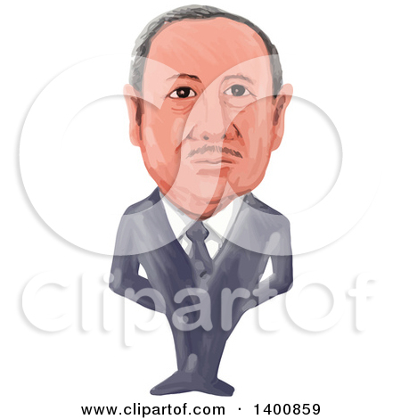 Clipart of a Watercolor Caricature of the 14th President of Turkey.