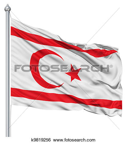 Stock Illustration of Waving flag of Turkish Republic of Northern.