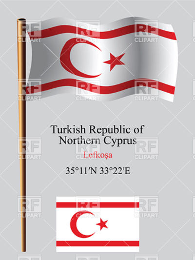 Turkish Republic of Northern Cyprus flag and coordinates Vector.