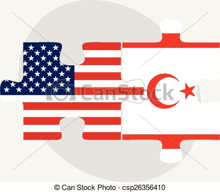 Vector Clip Art of USA and Turkish Republic of North Cyprus Flags.