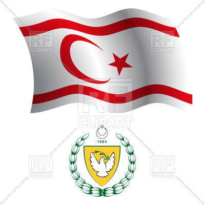 Turkish Republic of Northern Cyprus flag and coat of arms Vector.