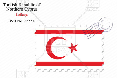 Postage stamp with flag of Turkish republic of northern cyprus.