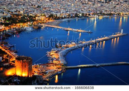 View Of Alanya Harbor From Alanya Peninsula. Turkish Riviera By.